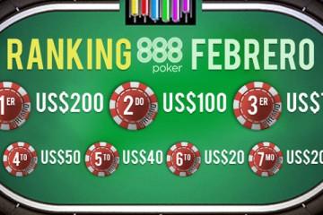 ranking febrero 888poker